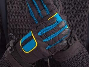 Перчатки горнолыжные теплые детские (р-р M-L, L-XL, цвета в ассортименте, уп.-12пар, цена за 1пару) - Черный-голубой-M-L