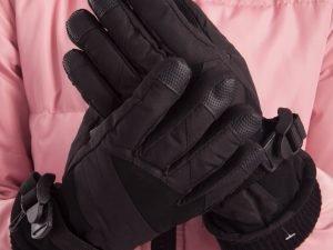 Перчатки горнолыжные теплые детские (р-р M-L, L-XL, цвета в ассортименте, уп.-12пар, цена за 1пару) - Черный-M-L