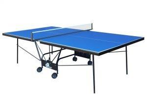 Стол теннисный GSI-Sport (Gk-5/Gp-5) (складной,ДСП толщина 16мм, металлический профиль 30х20мм, размер 2,74х1,52х0,76м, сетка, вес 70кг, синий, зеленый) - Цвет Синий
