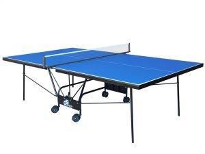 Стол теннисный GSI-Sport (Gk-6) (складной,ДСП толщина 18мм, металлический профиль 30х20мм, размер 2,74х1,52х0,76м, сетка, вес 75кг, синий)