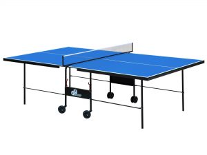 Стол теннисный GSI-Sport (Gk-3.18) (складной,ДСП толщина 18мм, металлический профиль 30х20мм, размер 2,74х1,52х0,76м, сетка, вес 70кг, синий)