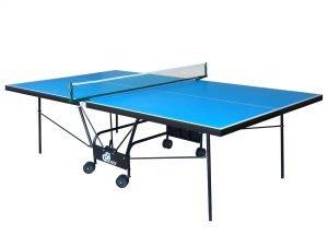Стол теннисный уличный GSI-Sport (G-street 4) (складной,прорезиненный меломин толщина 4мм, металлический профиль 30х20мм, размер 2,74х1,52х0,76м, сетка, вес 54кг, синий)
