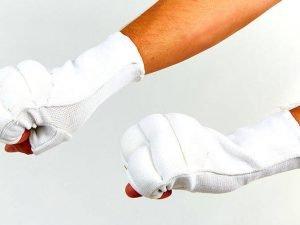 Накладки (перчатки) для каратэ (PL, хлопок, эластан, р-р L, белый)