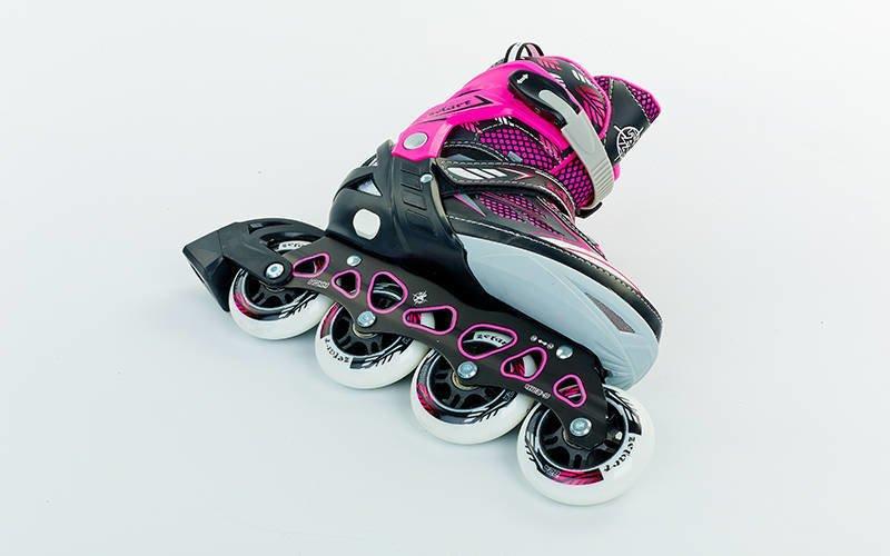 Роликовые коньки раздвижные Zelart FOLIAGE размер 35-42 розовый-черный