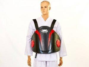 Защита корпуса (жилет) тренера PU VNM (безразмерная, крепл. на липучках, черный-красный)