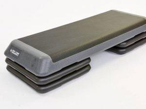 Степ-платформа (пластик,покрытие TPR,р-р 110Lx41Wx20Hсм, черный-серый)