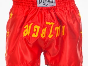 Шорты для тайского бокса и кикбоксинга ELAST (полиэстер, р-р M-XL (46-52), цвета в ассортименте) - Красный-L (48-50)