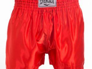 Шорты для тайского бокса и кикбоксинга ELAST (полиэстер, р-р L-XL (48-52), цвета в ассортименте) - Красный-XL (50-52)
