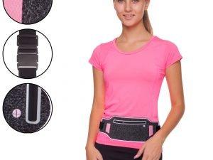 Ремень-сумка спортивная (поясная) для бега и велопрогулки (полиэстер, цвета в ассортименте) - Цвет Серый-малиновый