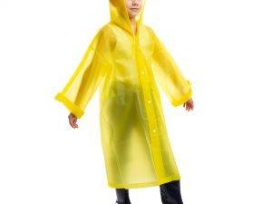 Дождевик детский на кнопках многоразовый (EVA, рост 120-160см,цвета в ассортименте ) - Цвет Желтый