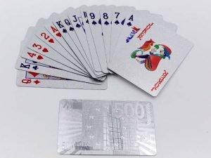Игральные карты серебряные SILVER 500 EURO (колода в 54 листа, толщина-0,28мм)