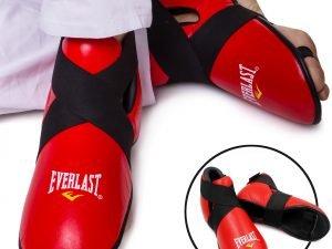 Футы для кикбоксинга, тхэквондо кожаные ELAST (р-р S-XL-39-44, цвета в ассортименте, крепл. резина) - Красный-S