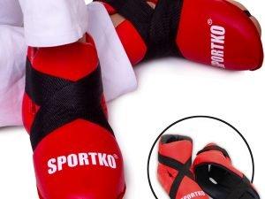 Футы для кикбоксинга, тхэквондо кожвинил SPORTKO UR ЗС1 (р-р S-L, цвета в ассортименте, крепл. резина) - Красный-L