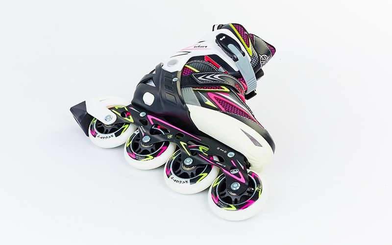 Роликовые коньки раздвижные Zelart PERFECTION размер 35-42 черный-розовый