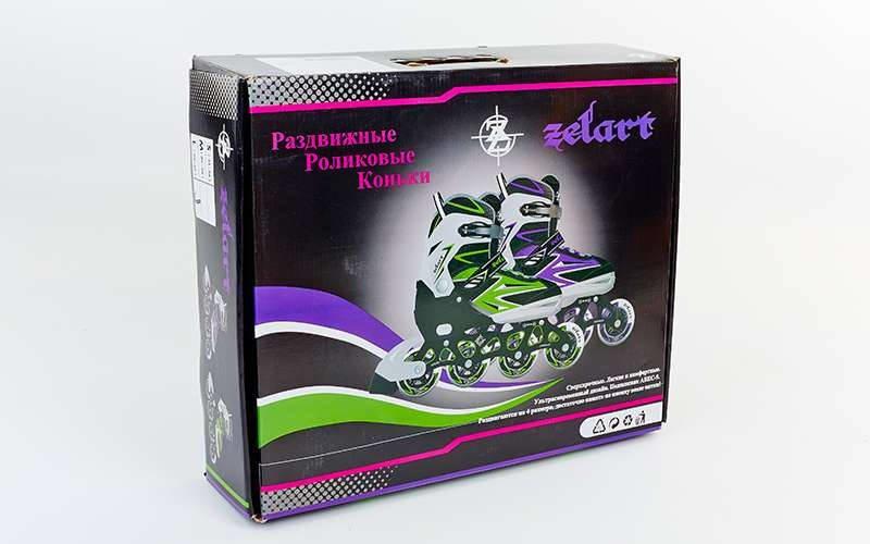 Роликовые коньки раздвижные Zelart ELEMENT размер 35-42 фиолетовый-черный