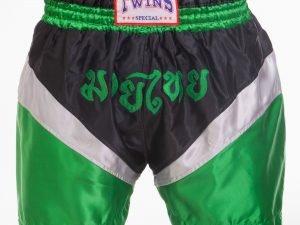 Шорты для тайского бокса и кикбоксинга SP-Planeta TWIN (полиэстер, р-р M-XL (46-52), цвета в ассортименте) - Зеленый-L (48-50)