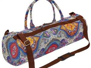 Сумка для йога коврика Yoga bag KINDFOLK (размер 20смх65см, полиэстер, хлопок, серый-синий-оранжевый)
