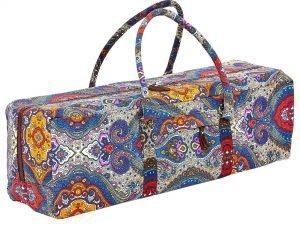 Сумка для фитнеса и йоги Yoga bag FODOKO (размер 20смх19смх64см, полиэстер, хлопок, серый-синий-оранжевый)