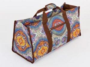 Сумка для фитнеса и йоги Yoga bag DoYourYoga (размер 22х24х54см, полиэстер, хлопок, серый-синий-оранжевый)