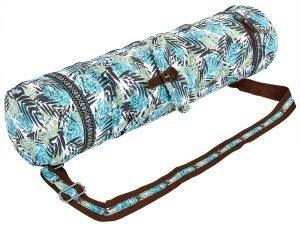 Сумка для йога коврика Yoga bag FODOKO (размер 16смх70см, полиэстер, хлопок, голубой-черный-белый)
