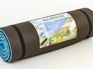 Коврик туристический (каремат) двухслойный 17мм Record (EVA, размер 1,8мx0,6мx1,7см, цвет черный-голубой)