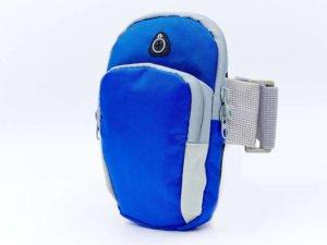 Чехол-кошелек на руку для бега (полиэстер, крепление на липучке, цвета в ассортименте) - Цвет Синий