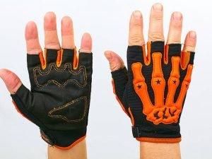 Вело-мото перчатки текстильные Скелет (открытые пальцы, р-р L-XXL, цвета в ассортименте) - Оранжевый-M