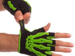 Велоперчатки с открытми пальцами Скелет размер L-XXL цвета в ассортименте - Салатовый-M
